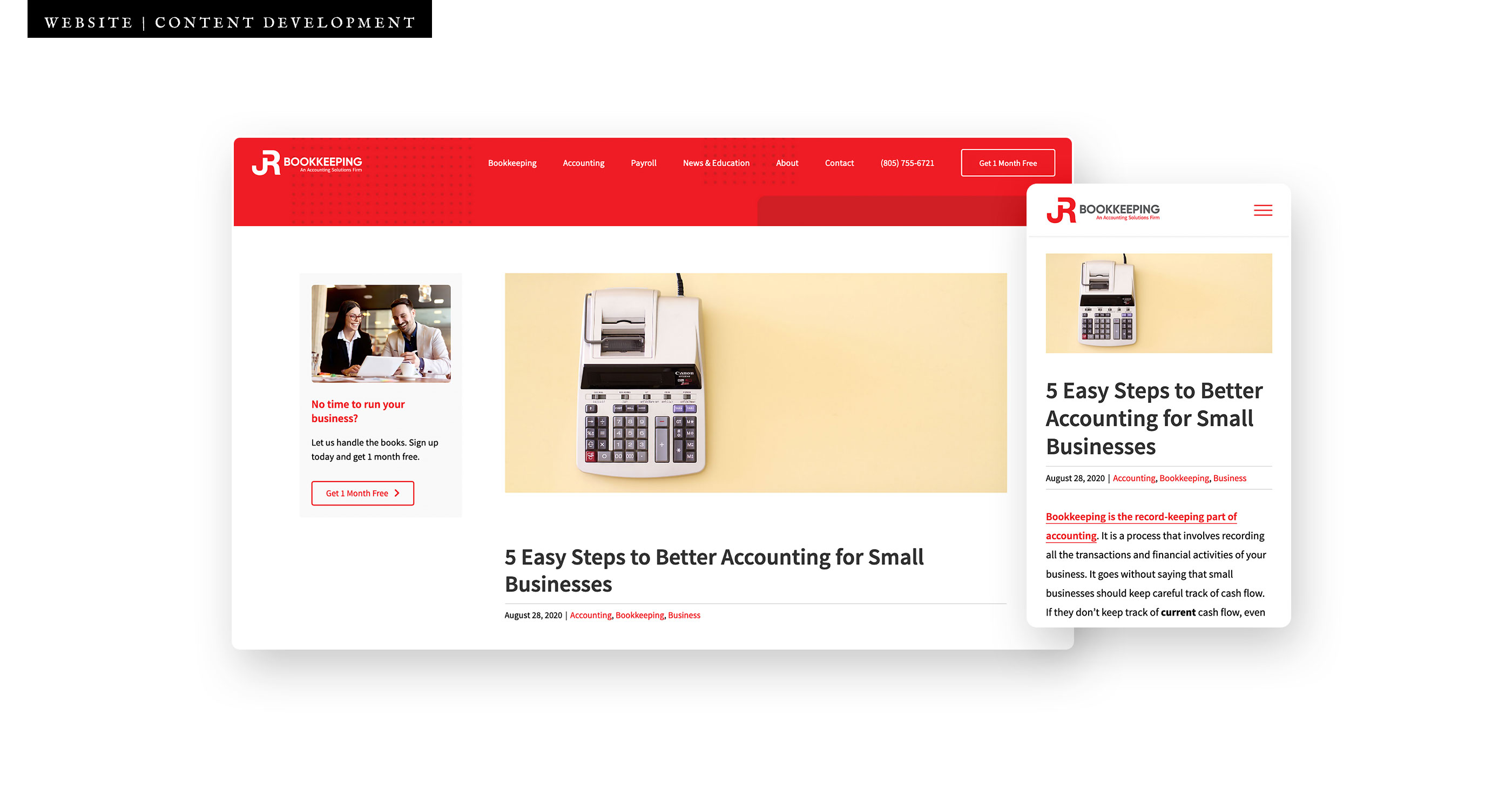 JRB Rebrand and Marketing case study 04 website content